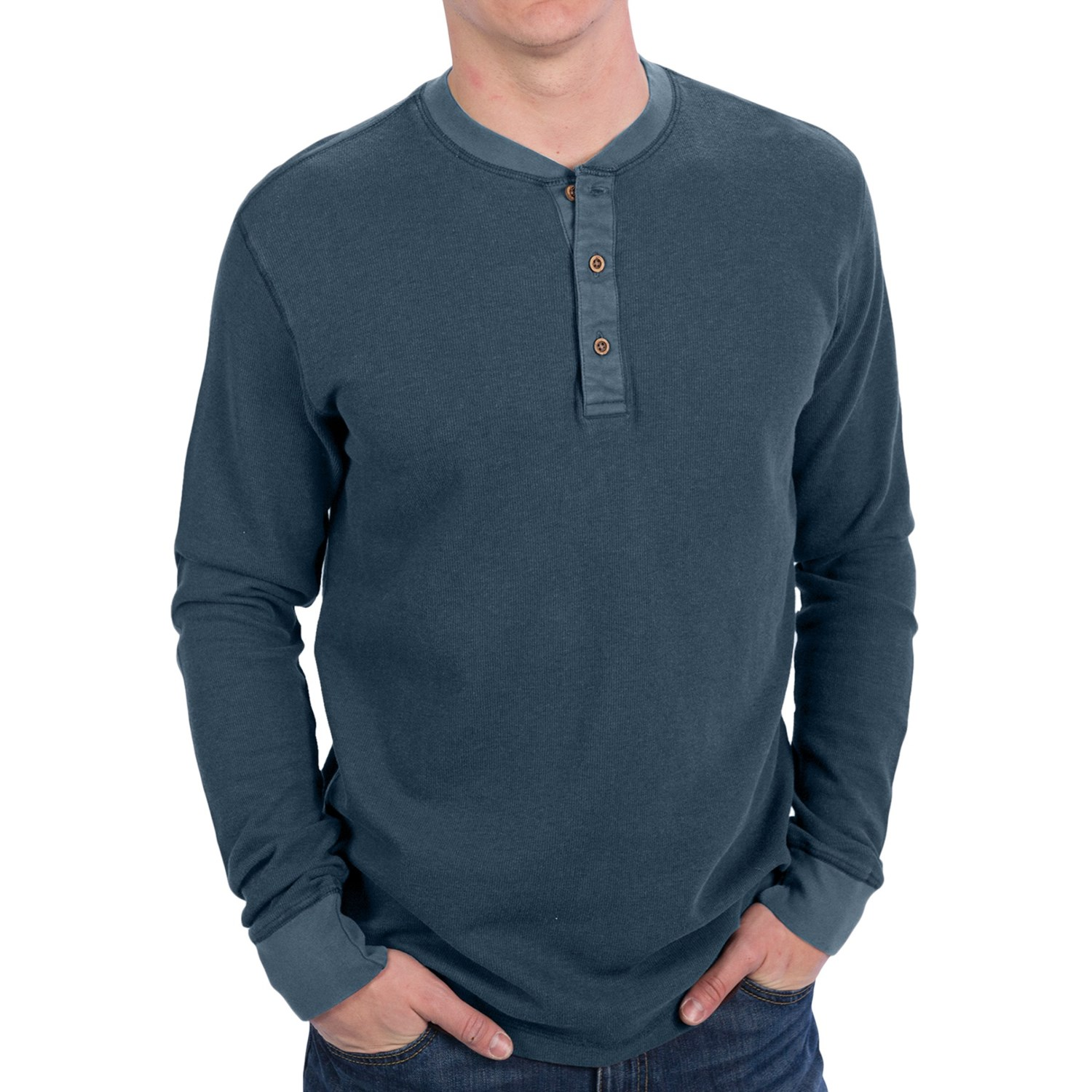 Vintage 1946 Solid Ribbed Henley Shirt Long Sleeve For