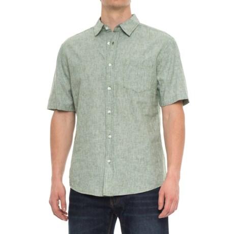 Vintage 1946 Striped Shirt - Linen-Cotton, Short Sleeve (For Men)