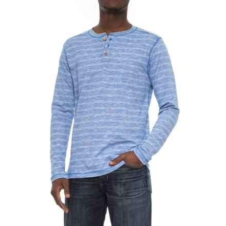 Vintage 1946 Twisted Ottoman Rib Henley Sweater (For Men) in Lt Blue - Closeouts