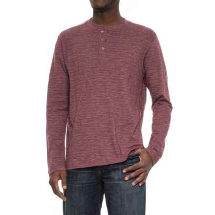 Vintage 1946 Twisted Ottoman Rib Henley Sweater (For Men) in Maroon - Closeouts