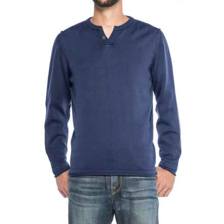 Vintage 1946 Two-Button Henley Sweater (For Men) in Indigo - Closeouts