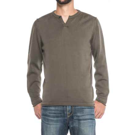 Vintage 1946 Two-Button Henley Sweater (For Men) in Mushroom - Closeouts