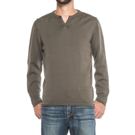 Vintage 1946 Two-Button Henley Sweater (For Men) in Mushroom