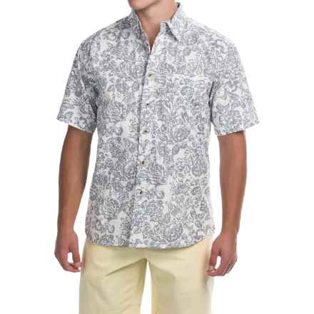 Vintage 1946 Washed Poplin Shirt - Button Front, Short Sleeve (For Men) in Natural/Floral Print - Closeouts