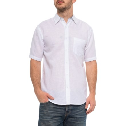 e2076685 Vintage 1946 White Solid Linen and Cotton Shirt - Short Sleeve (For Men) in