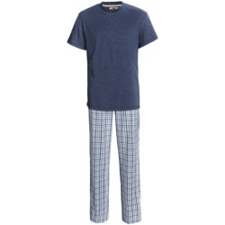 Vintage by Majestic T-Shirt and Broadcloth Pants Set - 2-Piece, Short Sleeve (For Men) in Navy