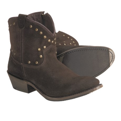 Vintage Luisa Studded Western Zip Boots - Short (For Women) in Brown Suede
