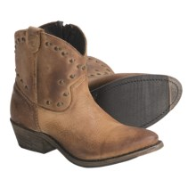 Vintage Luisa Studded Western Zip Boots - Short (For Women) in Tan - Closeouts