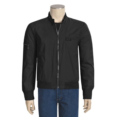 Vintage Racing Style Jacket - Nylon (For Men) in Black