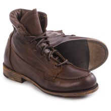 Vintage Shoe Company Vanessa Moc-Toe Boots - Leather, Lace-Ups (For Women) in Chocolate Harness - Closeouts