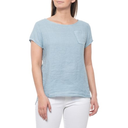 65996299da Viola Borghi Made in Italy Light Blue Crochet-Back Shirt - Linen