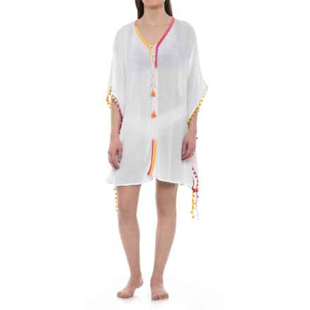 Violet Sky Beach Cover-Up Dress - Short Sleeve (For Women) in White Multi - Closeouts