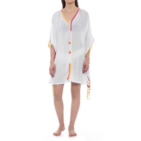 Violet Sky Beach Cover-Up Dress - Short Sleeve (For Women) in White Multi