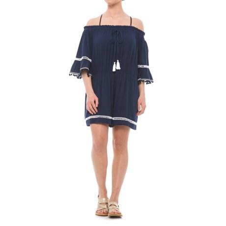 Violet Sky Beach Romper Cover-Up - Short Sleeve (For Women) in Navy/White