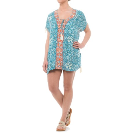 Violet Sky Embroidered Cover-Up - Short Sleeve (For Women) in Coral