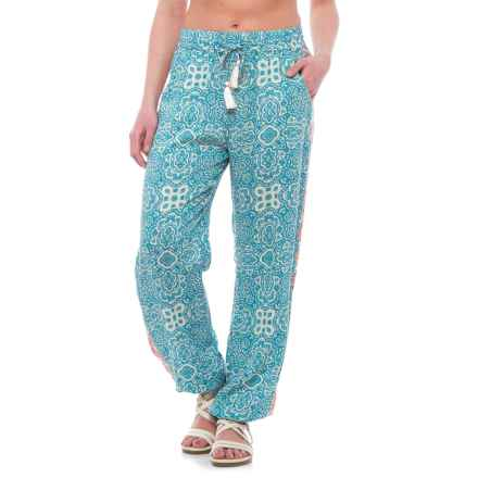 Violet Sky Embroidered Printed Beach Pants (For Women) in Blue/White/Coral - Closeouts