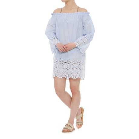 Violet Sky Eyelet Beach Swimsuit Cover-Up Dress - Short Sleeve (For Women) in Blue