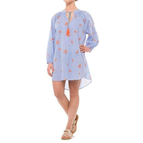 Violet Sky Flamingo Print Cover-Up Dress - Long Sleeve (For Women) in Blue/White/Pink