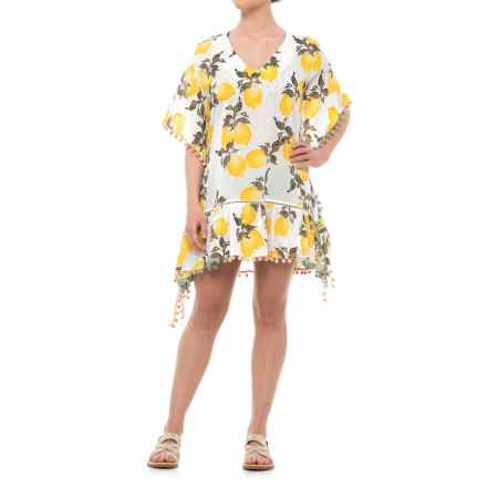 Violet Sky Lemon Print Beach Cover-Up Dress - Short Sleeve (For Women) in White/Yellow - Closeouts