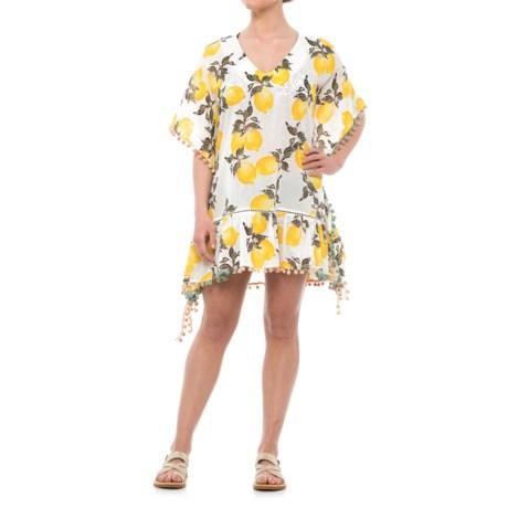 Violet Sky Lemon Print Beach Cover-Up Dress - Short Sleeve (For Women) in White/Yellow