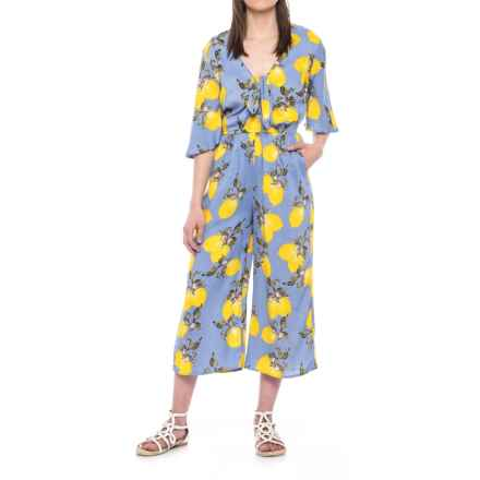 Violet Sky Lemon Print Beach Cover-Up Jumpsuit - Elbow Sleeve (For Women) in Blue/Yellow - Closeouts
