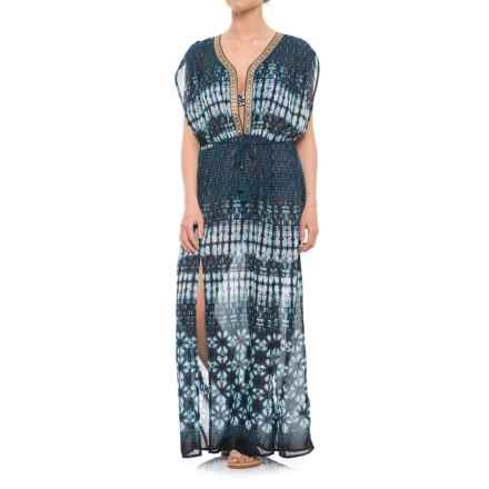 Violet Sky Maxi Dress Beach Cover-Up - Sleeveless (For Women) in Blue/White - Closeouts