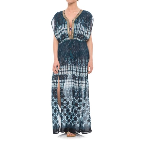 Violet Sky Maxi Dress Beach Cover-Up - Sleeveless (For Women) in Blue/White