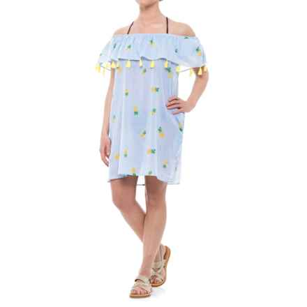 Violet Sky Pineapple Print Cover-Up - Short Sleeve (For Women) in Blue/White/Yellow - Closeouts