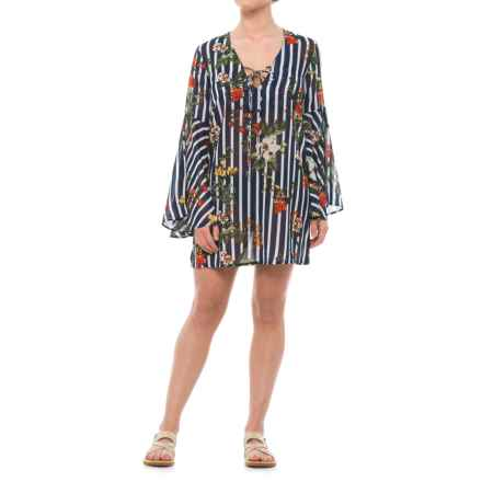 ae0db728de4 Violet Sky Striped Floral Beach Cover-Up Dress - Long Sleeve (For in Navy