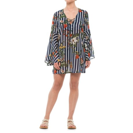 Violet Sky Striped Floral Beach Cover-Up Dress - Long Sleeve (For in Navy/White/Multi