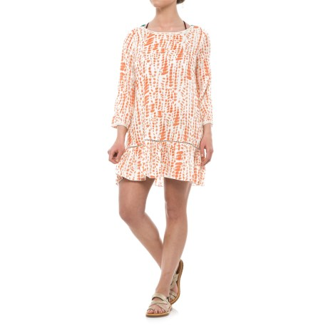Violet Sky Tie-Dye Cover-Up - Long Sleeve (For Women) in Coral/White/Turquoise