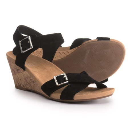 Vionic Anka Cork Wedge Sandals - Suede (For Women) in Black