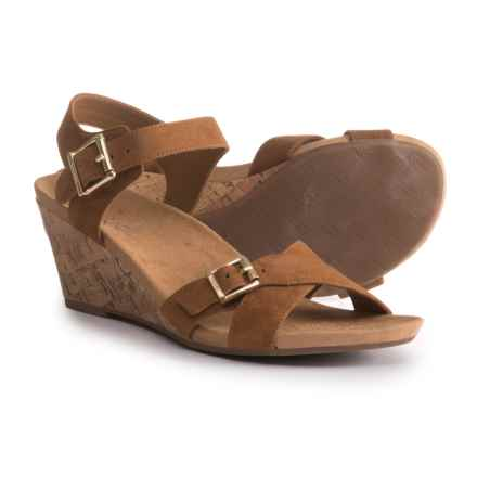 Vionic Anka Cork Wedge Sandals - Suede (For Women) in Caramel - Closeouts