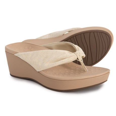 fdc2201bf64c Vionic Arabella Wedge Thong Sandals (For Women) in Champagne