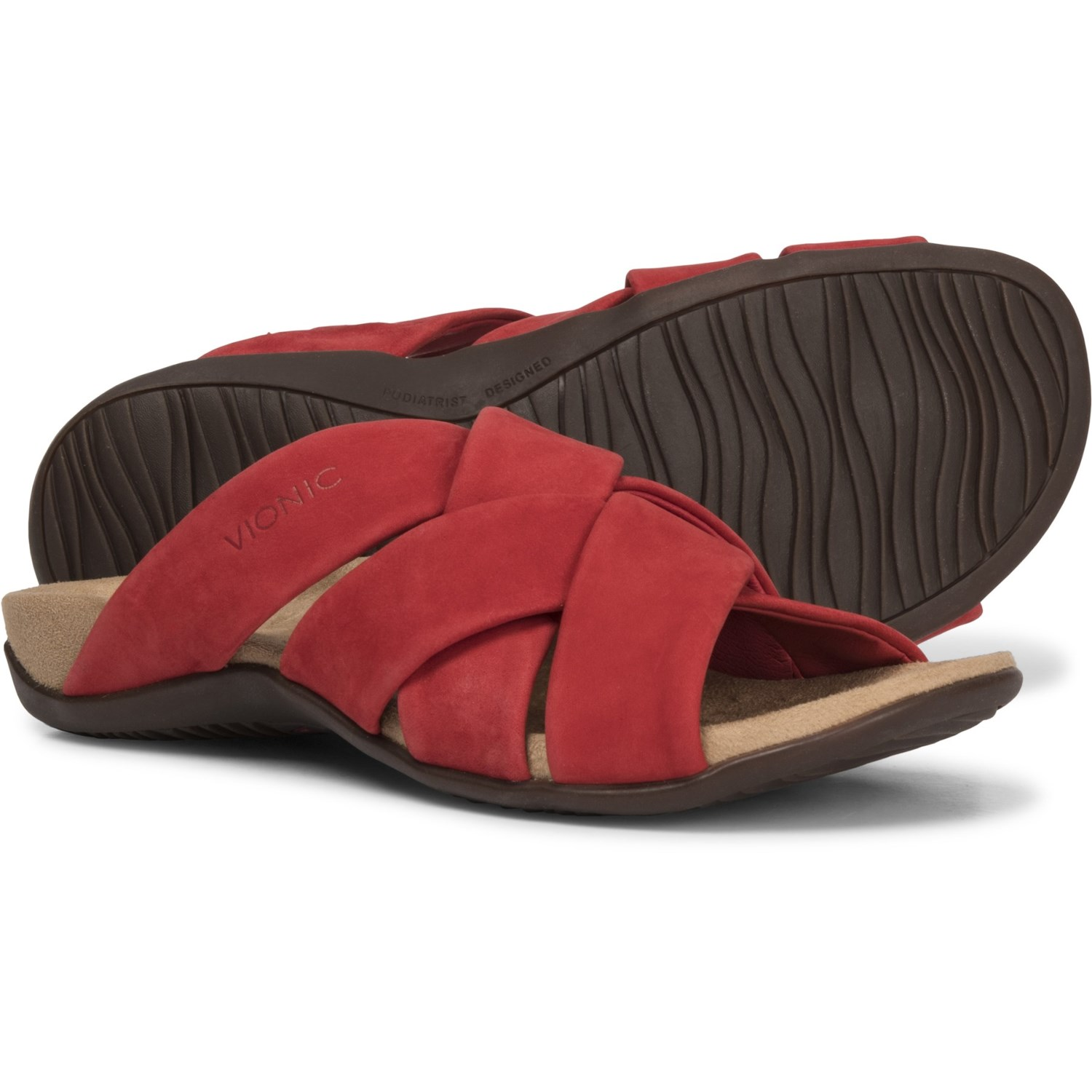 6f2a6220bc31 Vionic Orthaheel Technology Juno Slide Sandals (For Women) in Cherry ...