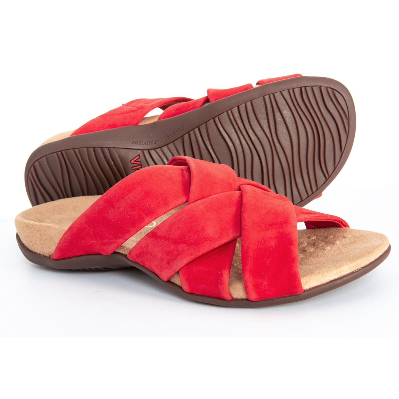 d3fd9280786b Vionic Orthaheel Technology Juno Slide Sandals - Nubuck (For Women) in  Cherry ...