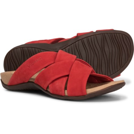 98b21d5d7aca Vionic Orthaheel Technology Juno Slide Sandals(For Women) in Cherry