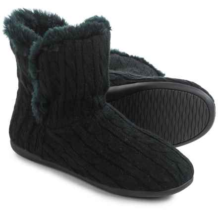 Vionic Orthaheel Technology Kari Slipper Booties (For Women) in Black Cable Knit - Closeouts