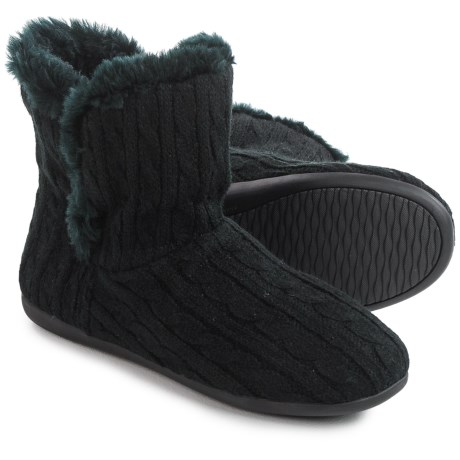 Vionic Orthaheel Technology Kari Slipper Booties (For Women) in Black Cable Knit