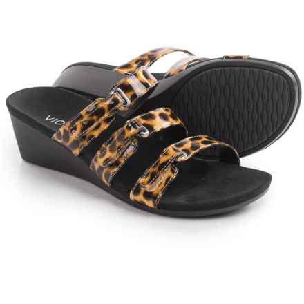 Vionic with Orthaheel Technology Dwyn Sandals - Wedge Heel (For Women) in Tan Leopard - Closeouts