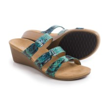 Vionic with Orthaheel Technology Dwyn Sandals - Wedge Heel (For Women) in Teal Snake - Closeouts