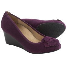 Vionic with Orthaheel Technology Hayes Wedge Shoes - Suede (For Women) in Plum - Closeouts