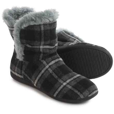 Vionic with Orthaheel Technology Kari Slipper Booties (For Women) in Gray Plaid - Closeouts