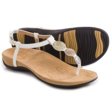 Vionic with Orthaheel Technology Lizbeth T-Strap Sandals (For Women) in White Metallic - Closeouts