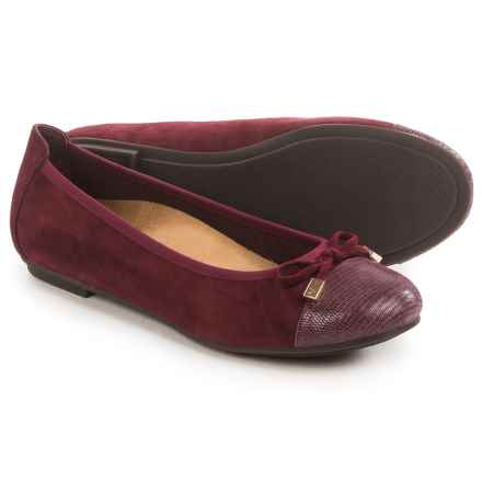 Vionic with Orthaheel Technology Minna Ballet Flats - Leather (For Women) in Merlot Leopard - Closeouts