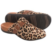 Vionic with Orthaheel Technology Rest Calgary Mules - Leather (For Women) in Tan Leopard - Closeouts