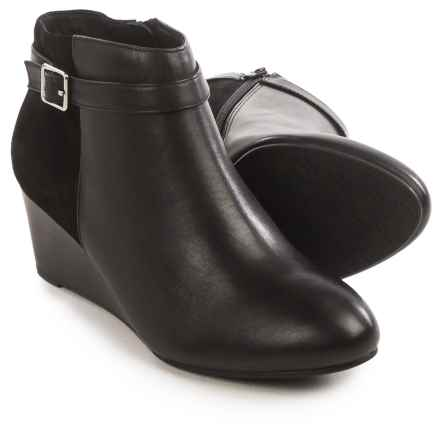 Vionic with Orthaheel Technology Shasta Ankle Boots - Leather, Wedge Heel (For Women) in Black Leather/Black Suede - Closeouts