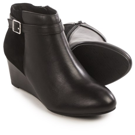Vionic with Orthaheel Technology Shasta Ankle Boots - Leather, Wedge Heel (For Women) in Black Leather/Black Suede