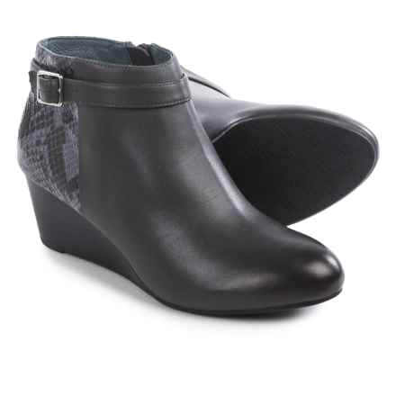 Vionic with Orthaheel Technology Shasta Ankle Boots - Leather, Wedge Heel (For Women) in Grey Leather/Grey Snake - Closeouts