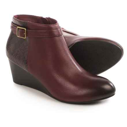 Vionic with Orthaheel Technology Shasta Ankle Boots - Leather, Wedge Heel (For Women) in Merlot Leather/Merlot Snakeskin - Closeouts
